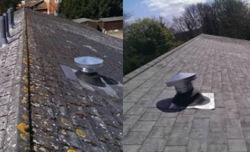 commercial roof cleaning before and after
